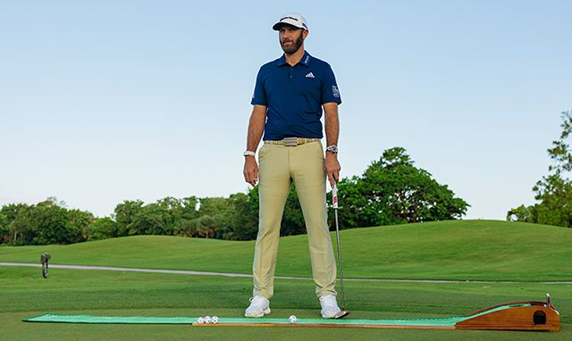 Professional Golfer Dustin Johnson using Perfect Practice Putting Mat