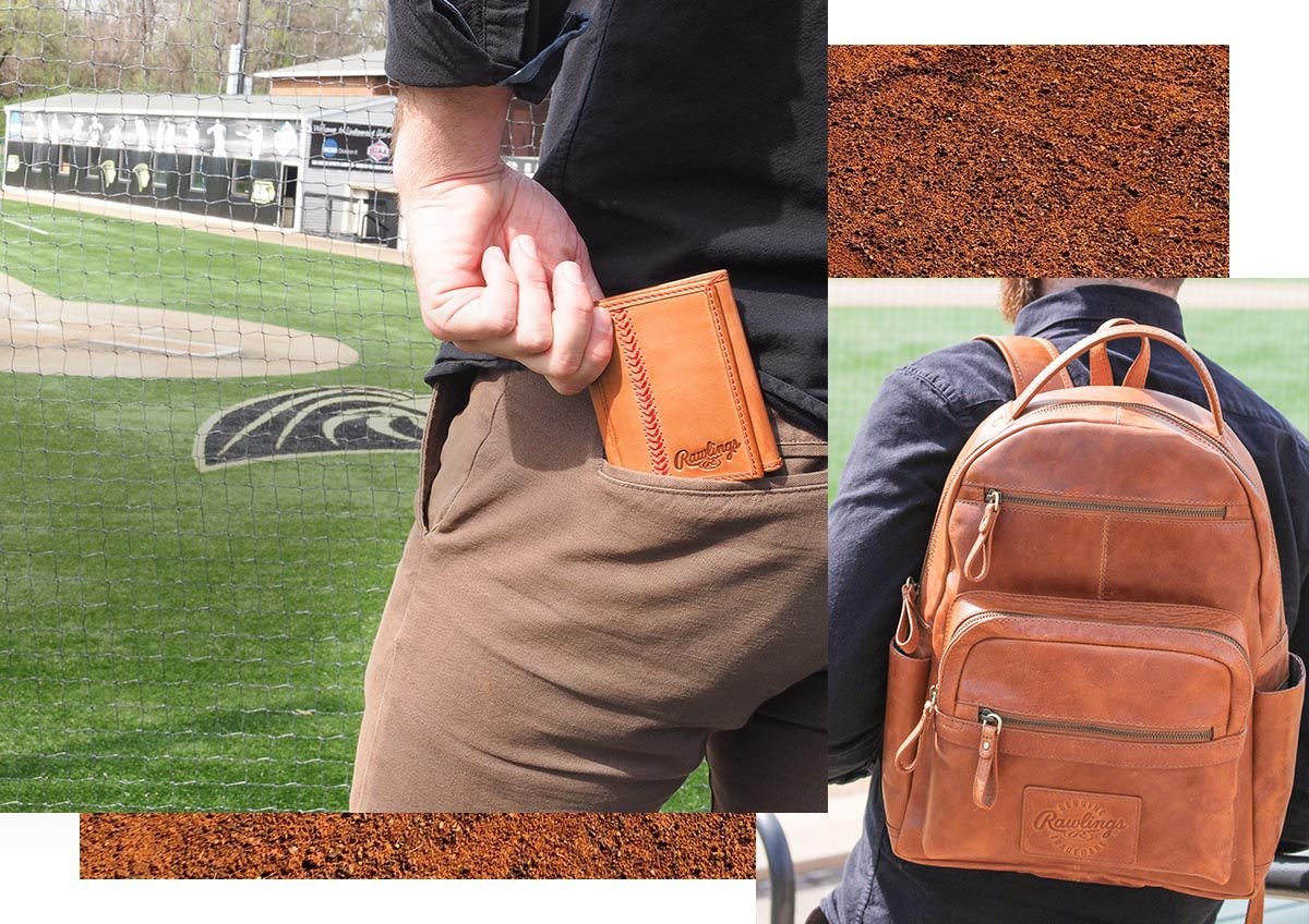 A man putting a Rawlings Baseball Stitch Leather Trifold Wallet into his back pocket and another man with a Rawlings Medium Leather Backpack over his shoulder.