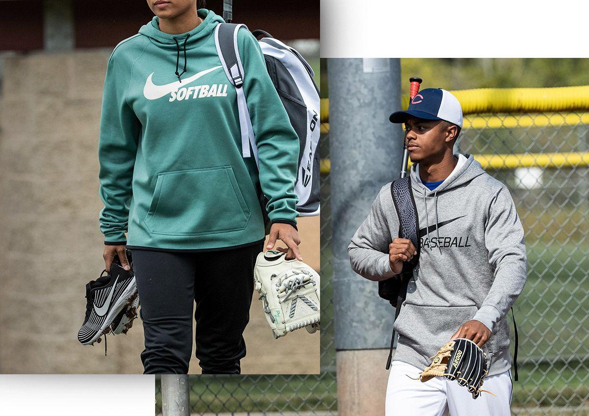 A dual image of a woman wearing Nike softball gear and a man wearing Nike baseball gear.