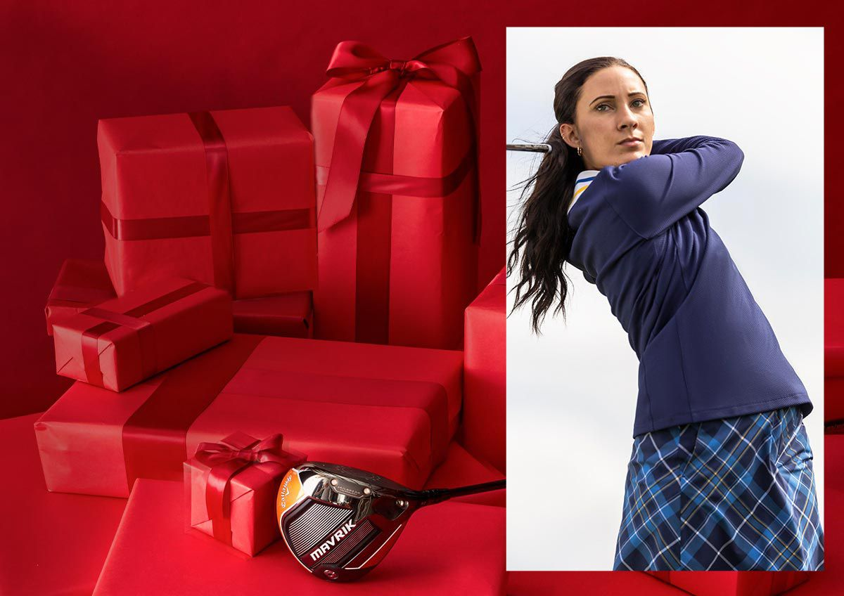 An Image Of Presents And A Female Golfer Swinging A Club On The Course