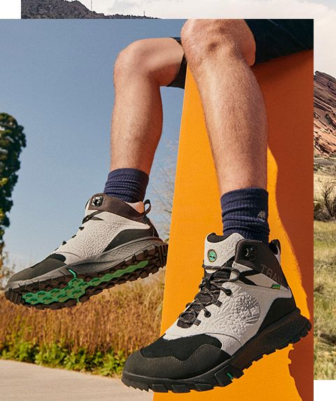 A pair of timberland garrison hiking boots.