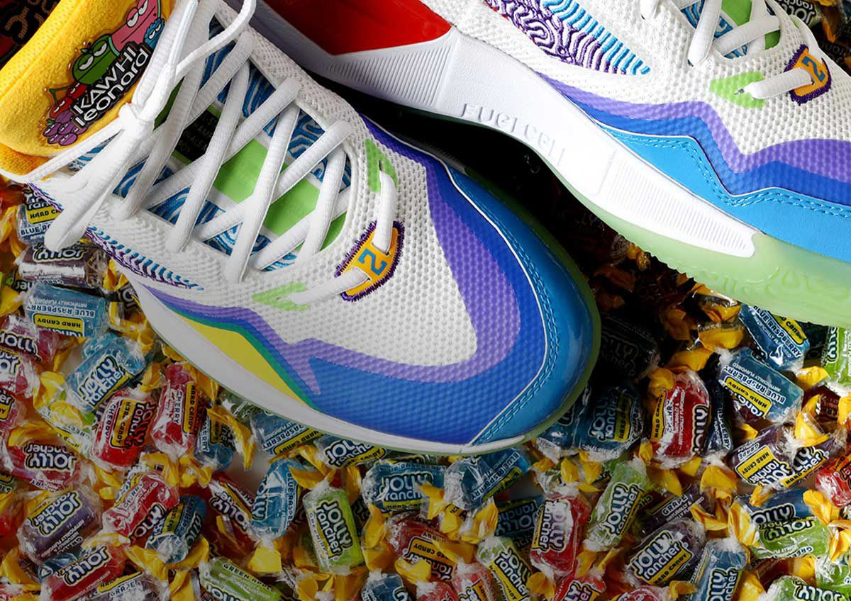 Image features the New Balance Kawhi x Jolly Rancher