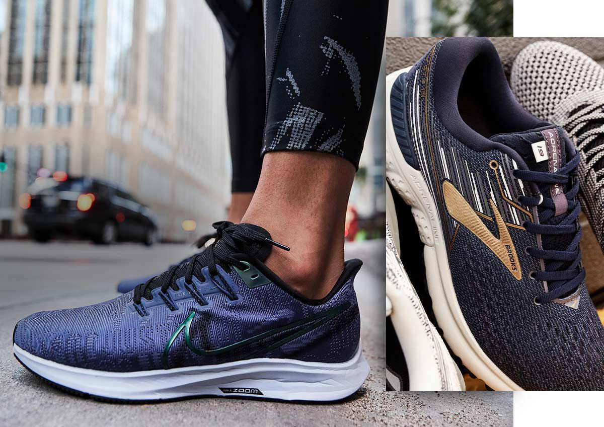 Running shoes from Nike and Brooks.