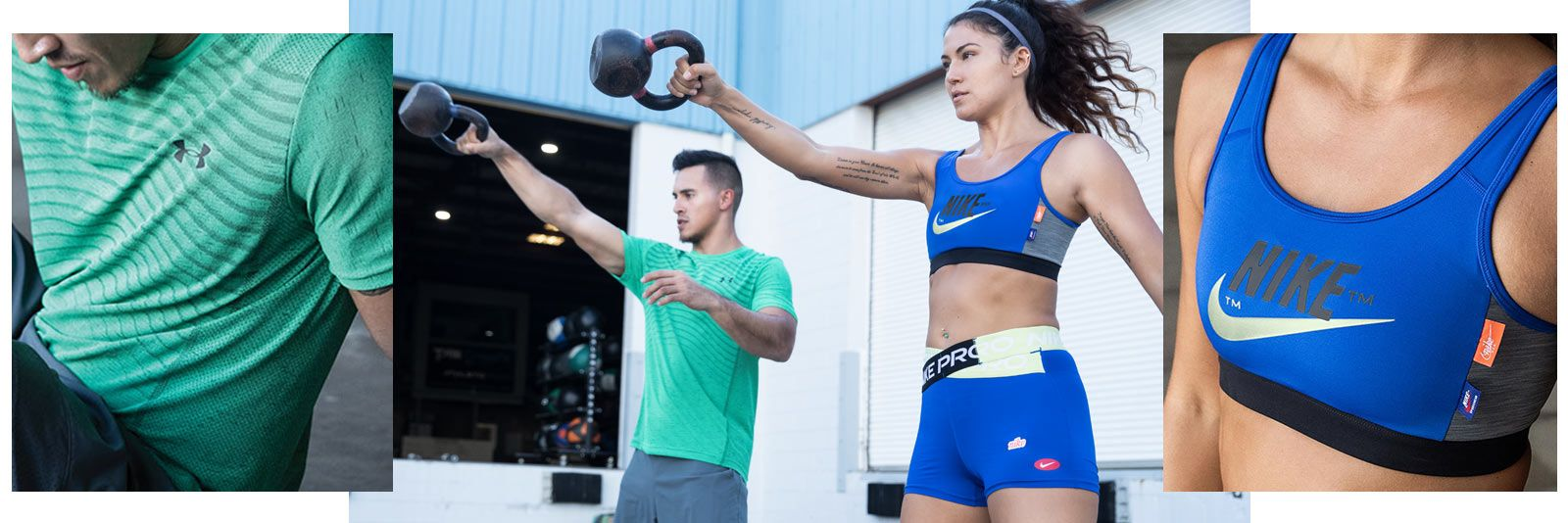 A man and a woman doing a kettlebell exercise.