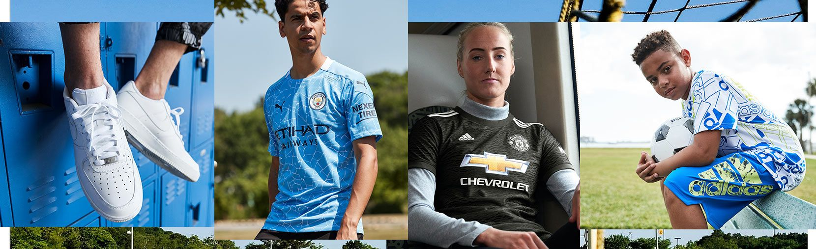 Image is a collage of soccer related apparel, footwear and jerseys.