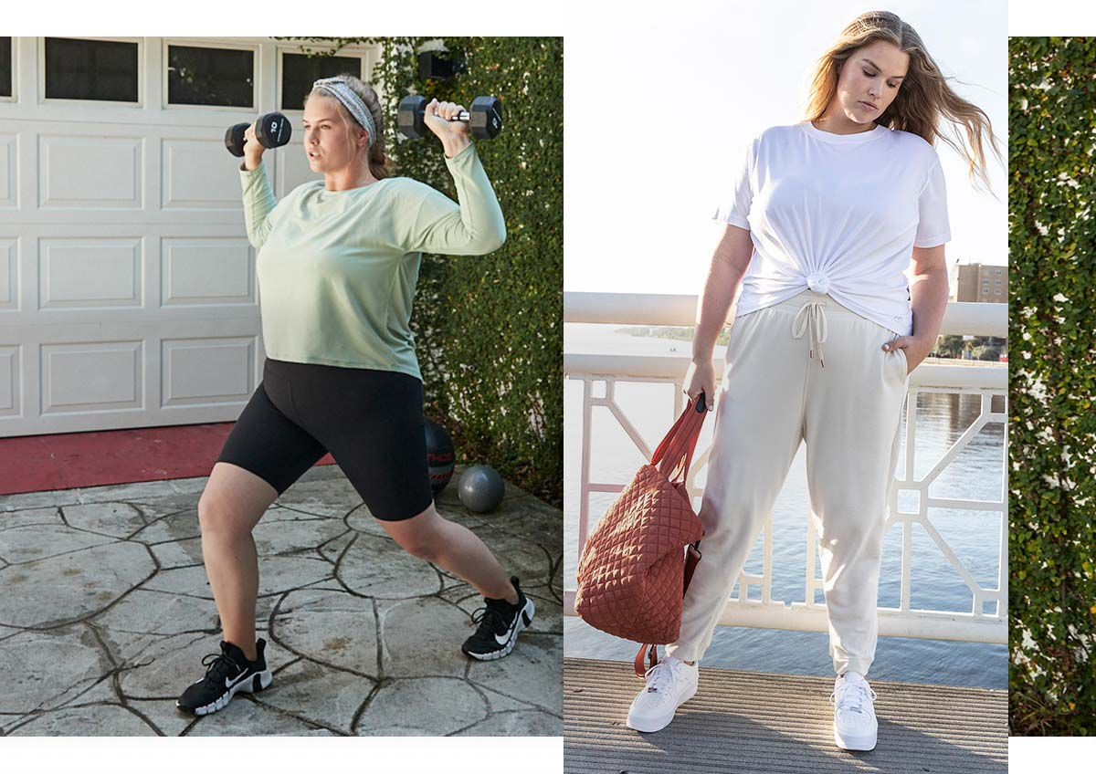 A woman wearing a casual outfit and a woman wearing exercise apparel lifting weights.