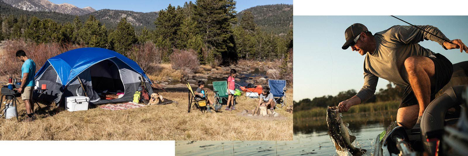 Image features a variety of family oriented outdoor activities.