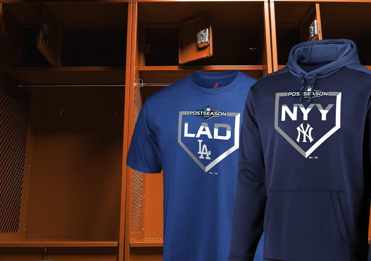 A Los Angeles Dodgers Royal Postseason 2019 tee and New York Yankees postseason 2019 hoodie.