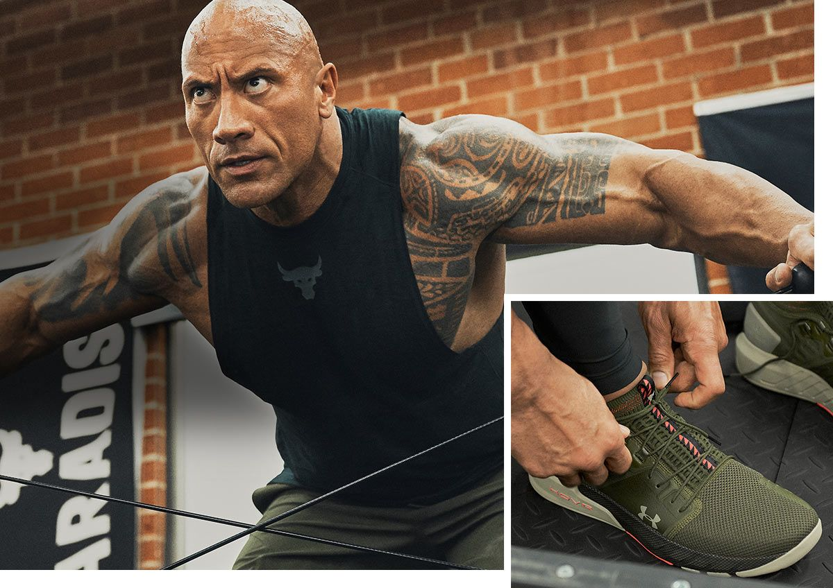 """A dual image of Dwayne """"The Rock"""" Johnson, working out in a gym and a closeup of his Under Armour shoes."""
