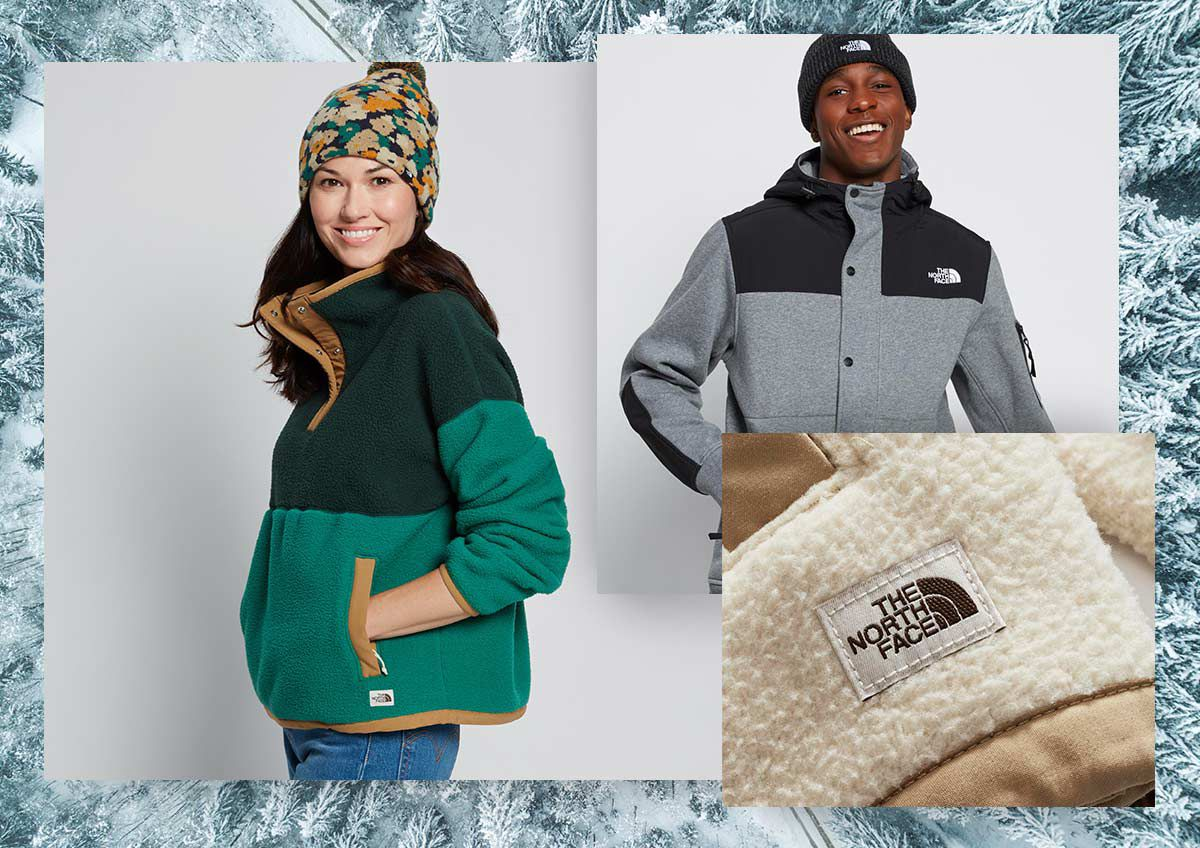 A woman and man in The North Face apparel and a close up of a The North Face fleece.
