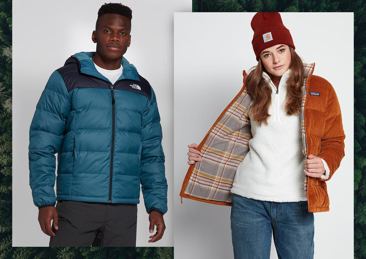 A man and a woman wearing winter jackets.