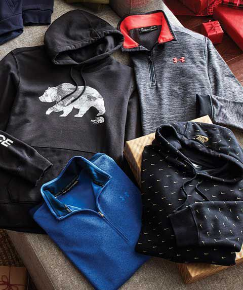 A North Face Men's Bearinda Pullover Hoodie, Nike Men's Sportswear Swoosh Pullover Hoodie, Under Armour Men's Armour Fleece ½ Zip Long Sleeve Shirt, and an Under Armour Men's Sweaterfleece Golf ½ Zip.