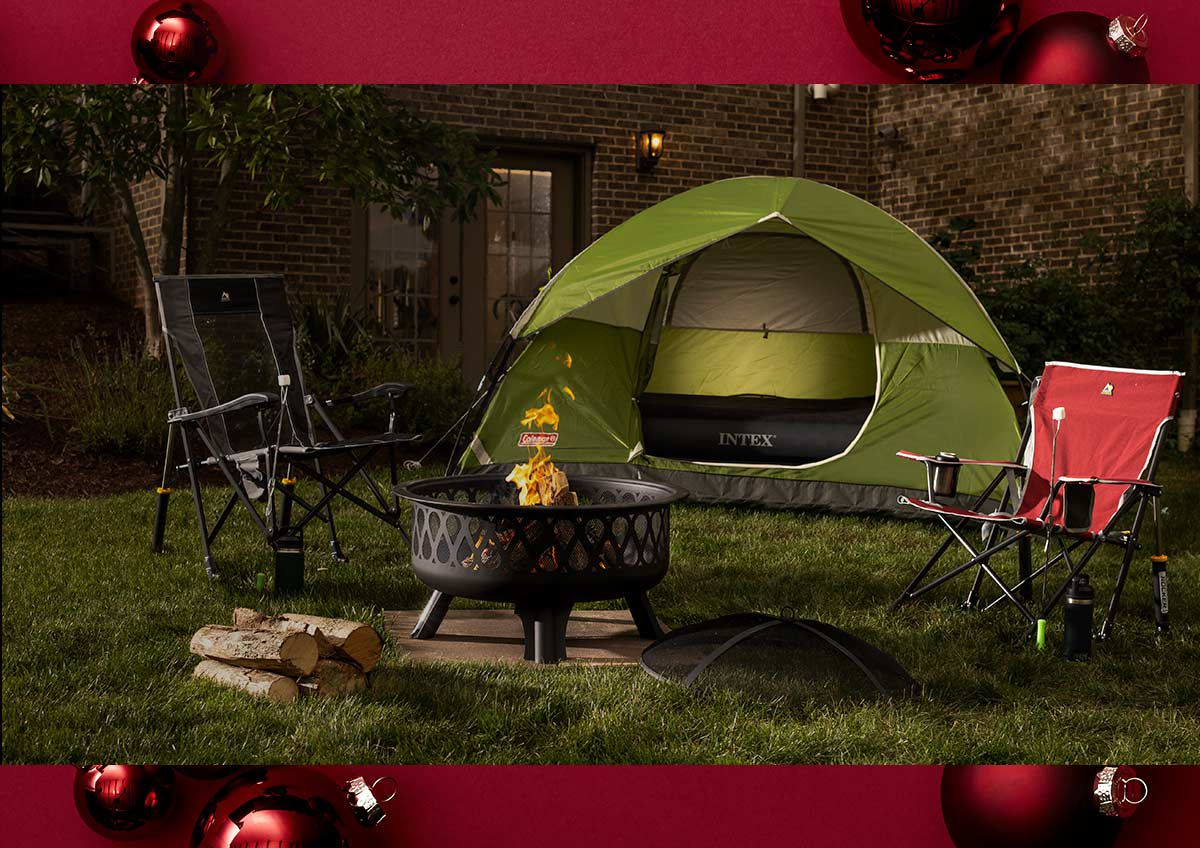 Image features a backyard camping scene with all the latest gear.