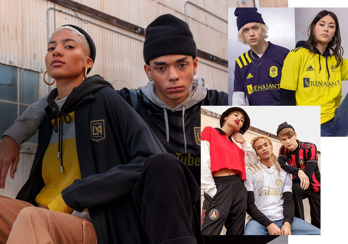 A montage of young people wearing jerseys and outerwear in urban settings.