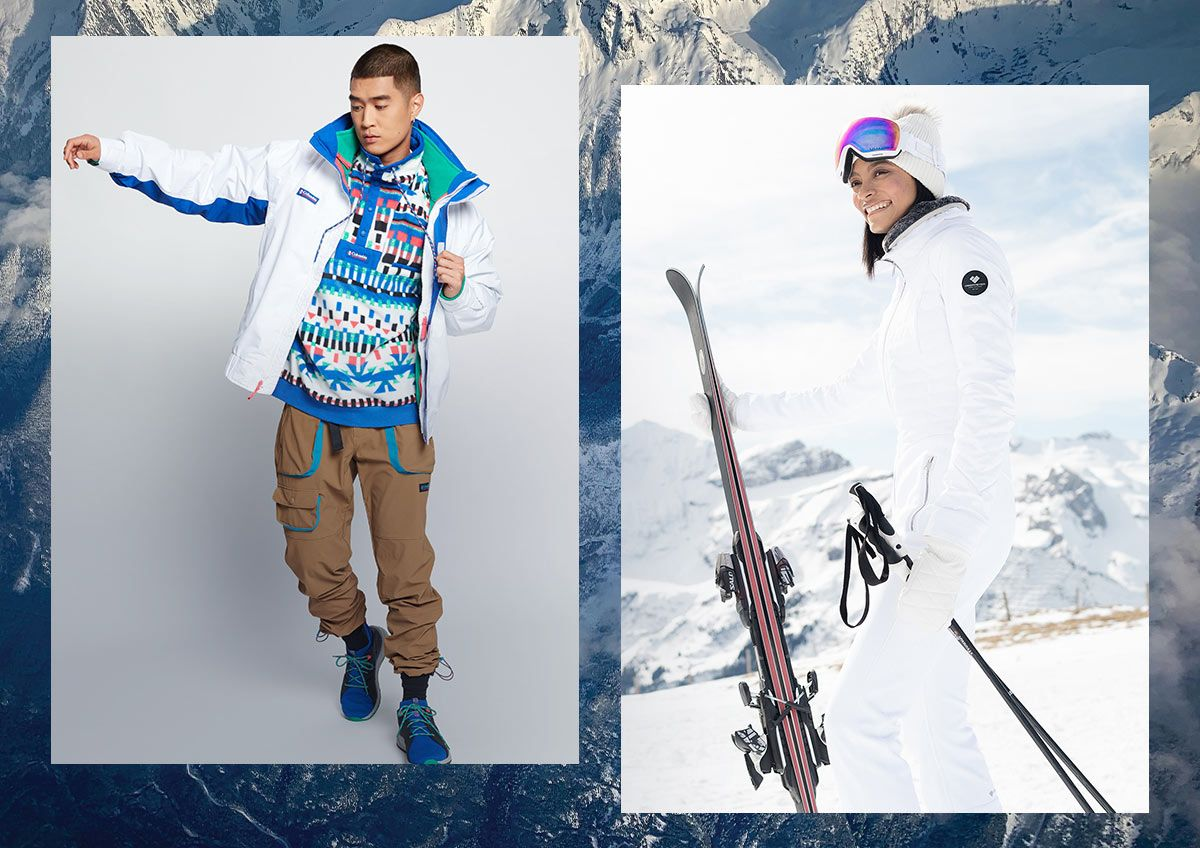 A man and a woman wearing ski apparel.