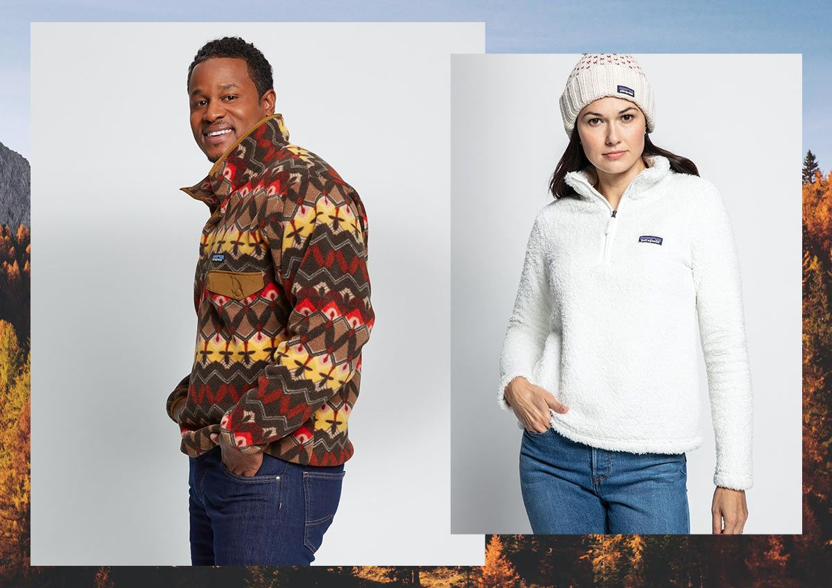 A man and a woman wearing Patagonia sweaters.