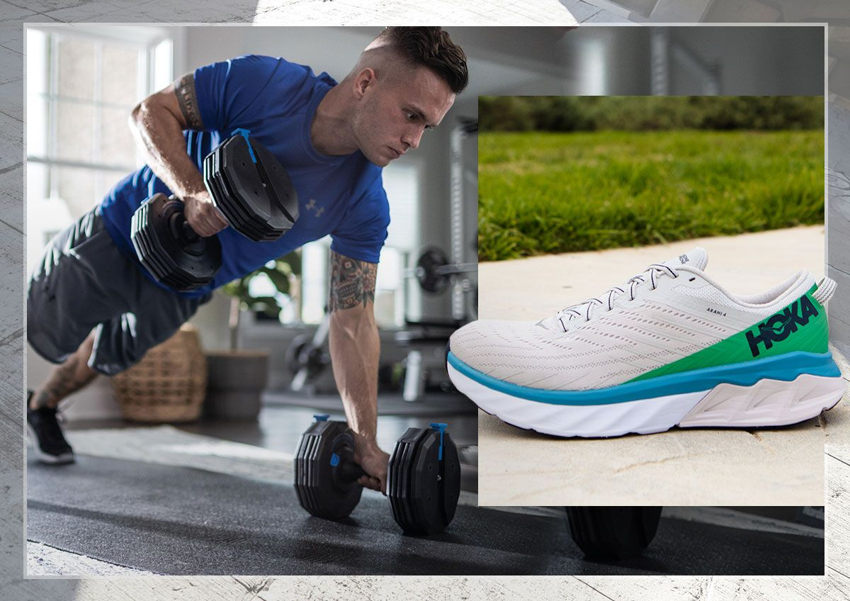 A man performing push-up rows and a Hoka training shoe.