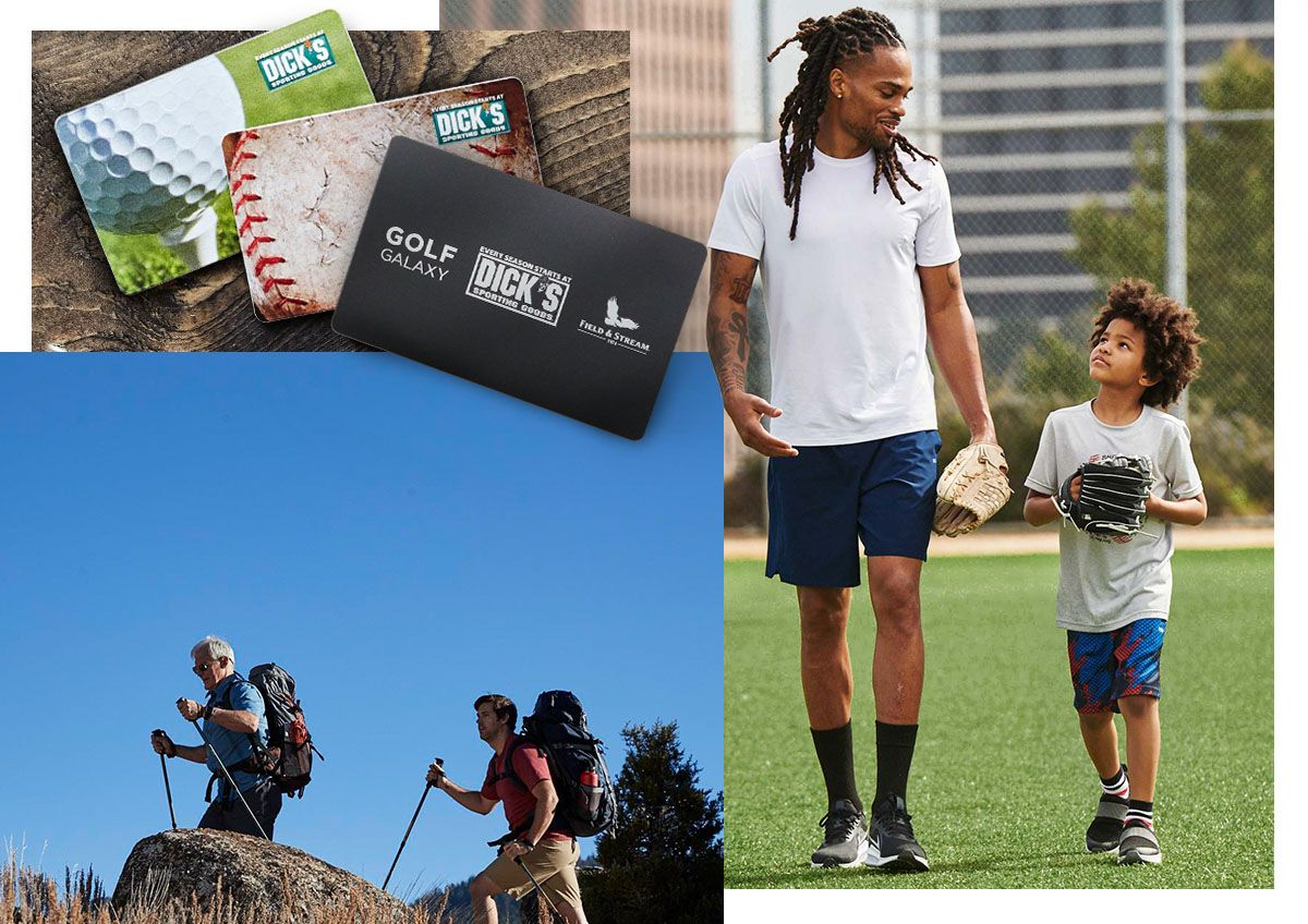 Multiple images featuring sports themed DICK'S Sporting Goods gift cards and fathers and kids participating in activities together.
