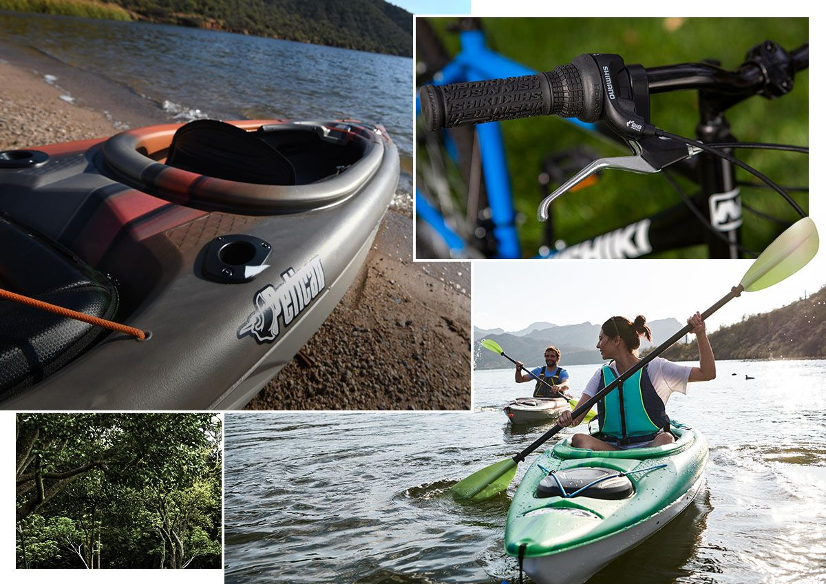 A collage of images featuring bikes and kayaks.