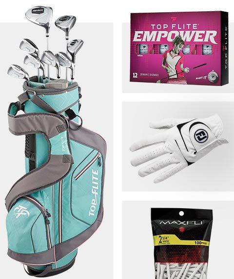 An Image Featuring a Top Flite Golf Bag, Top Flite Golf Balls, FootJoy Golf Glove And Maxfli Golf Tees