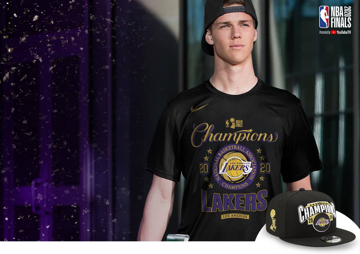 Image features Los Angeles Lakers NBA Champs Gear.