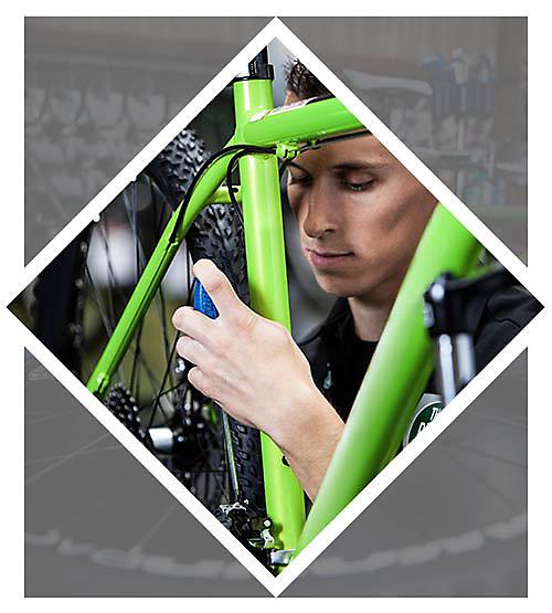 An image featuring a man fixing a bike
