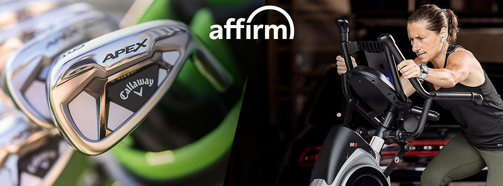 Affirm logo on image with fitness and golf equipment.