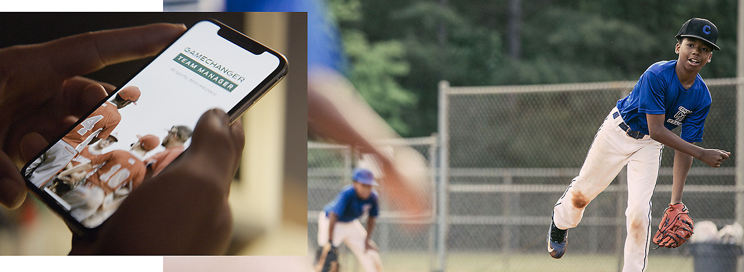 Image features a baseball player getting ready to pitch as well as a tripod mounted smartphone.