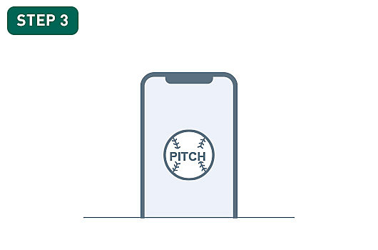 Image features an illustration of smartphone in a vertical alignment with an image of a baseball in the center and the word Pitch over it.
