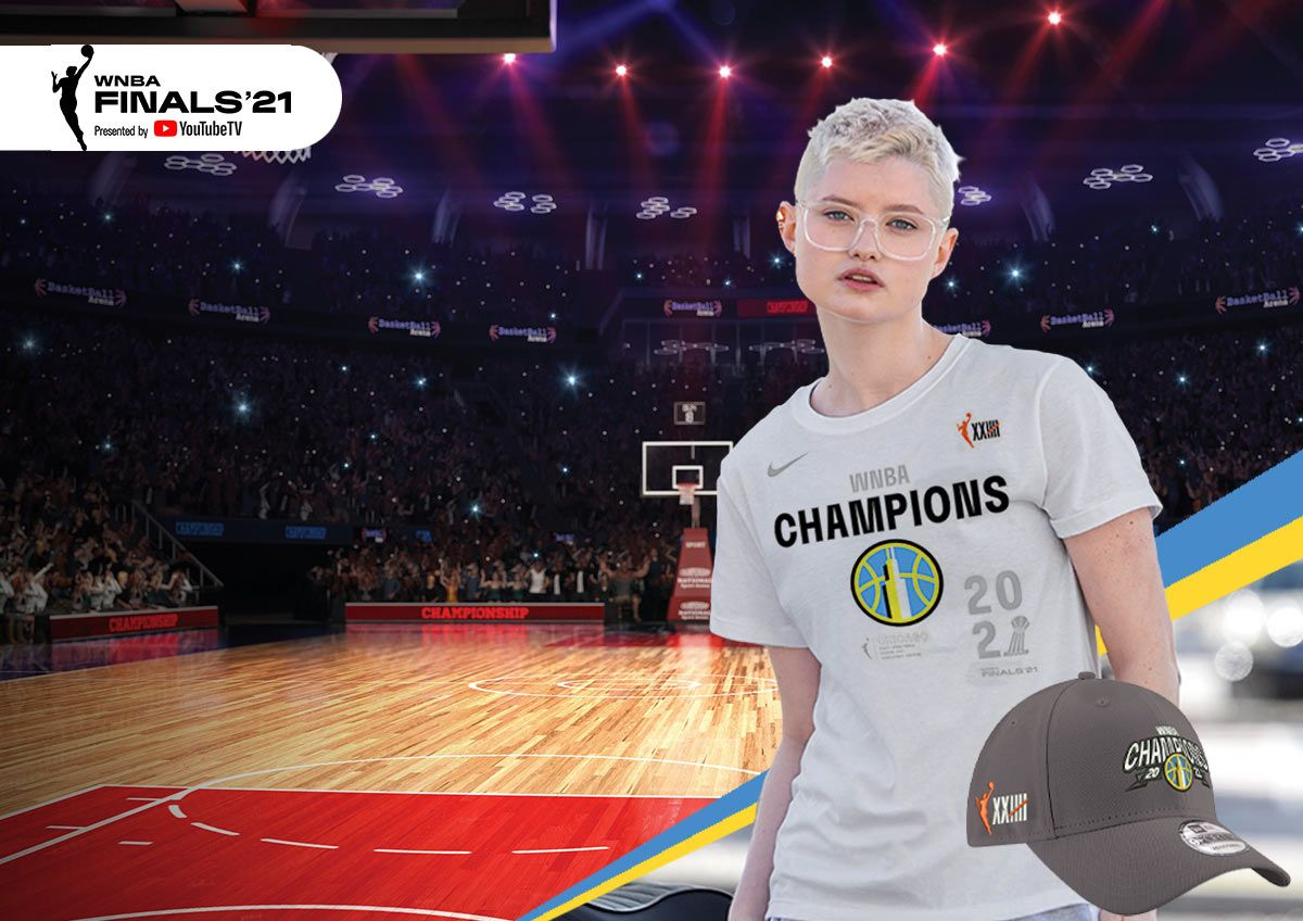 Image features WNBA champs gear.