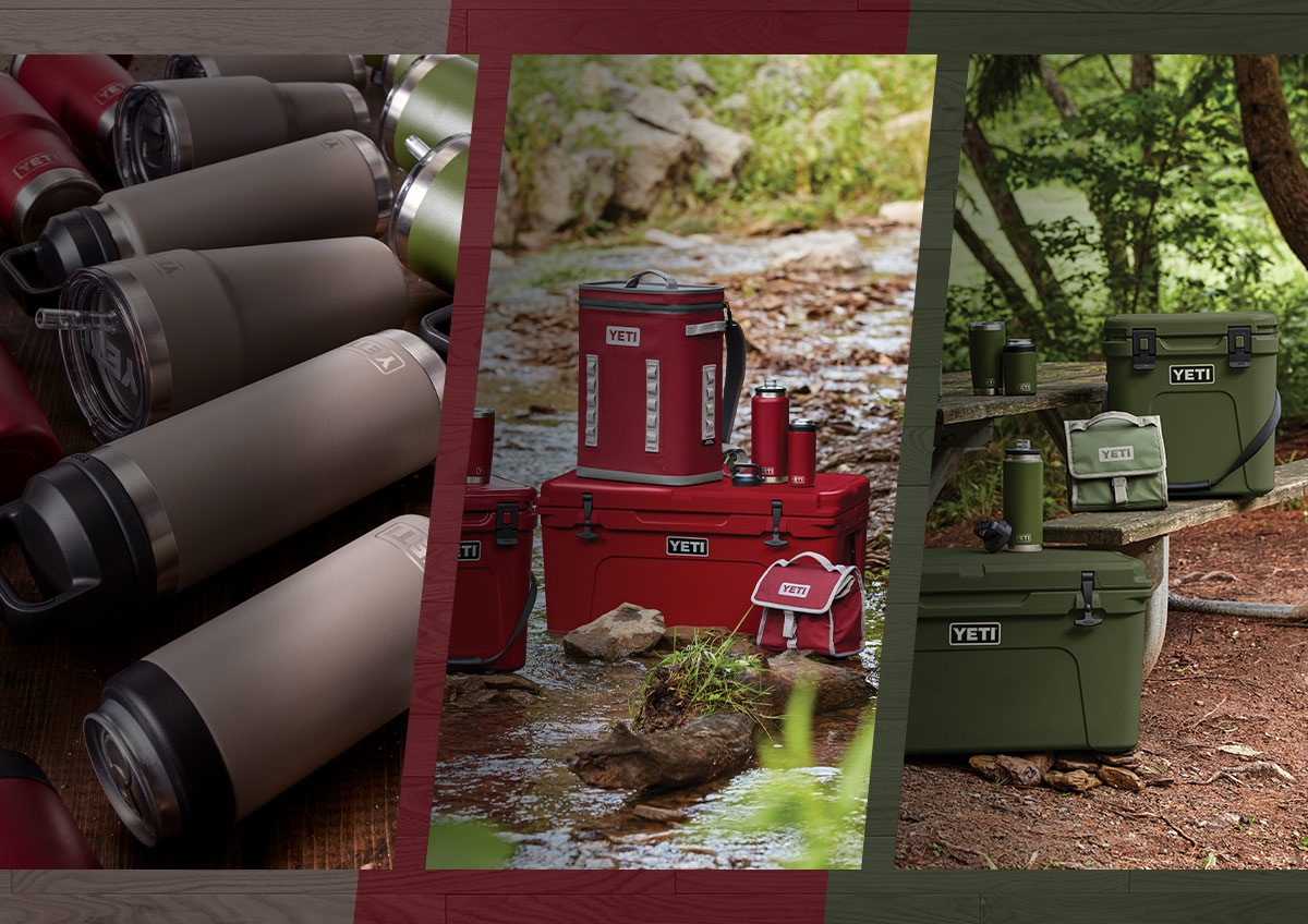 Collage of various YETI coolers and drinkware in new Harvest Red, Highlands Olive Green and Sharptail Taupe colorways.