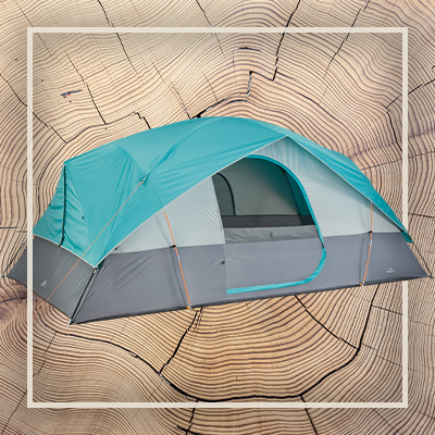 Product image of a blue and gray dome-style camping tent.
