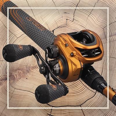 Product image of an orange and black baitcast reel.